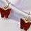 Thumbnail: Red Butterfly Hoop Earrings