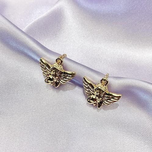 Gold Angel Hoop Earrings