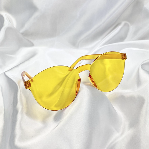 Yellow Orange Round Frameless Sunglasses