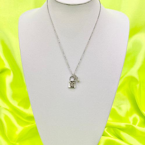 Silver Rhinestone Padlock Key Necklace
