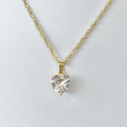 Gold Cubic Zirconia Statement Heart Necklace