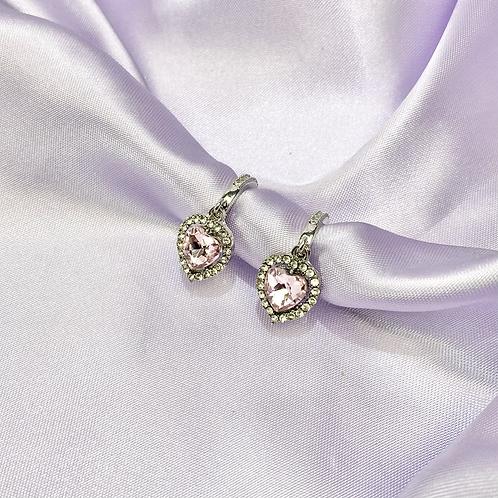 Pink Rhinestone Gem Heart Hoop Earrings