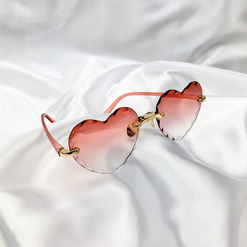 Pink Red Crinkle Heart Sunglasses