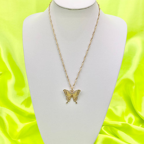 Gold Rhinestone Butterfly Necklace
