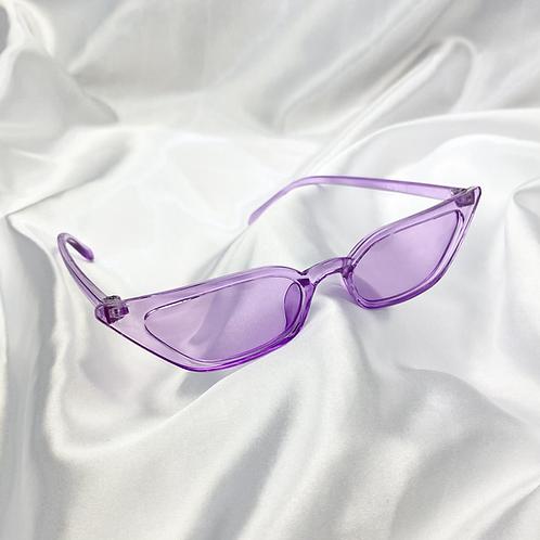 Purple Clear Slim Rectangle Cat Eye Sunglasses