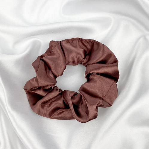 Purple Brown Satin Scrunchie