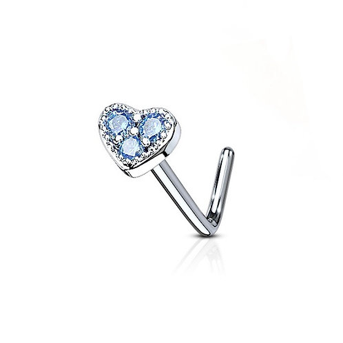 Blue 3 CZ Paved Heart Nose Stud