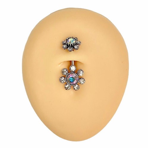 Aurora Borealis Double End Funky Crystal Flower Belly Bar