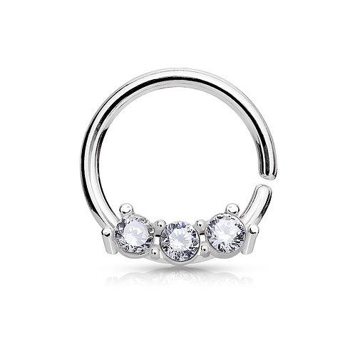 Silver CZ Bendable Septum Hoop Ring