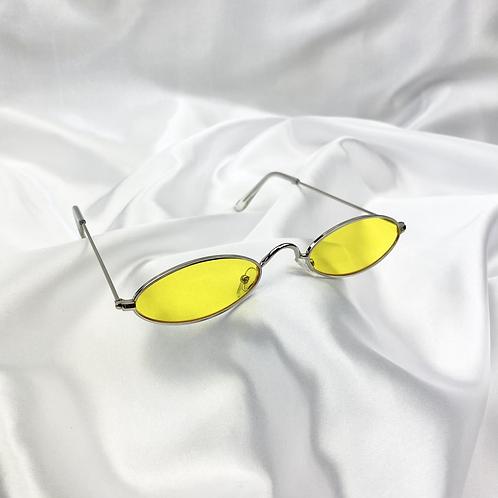 Yellow Retro Oval Sunglasses