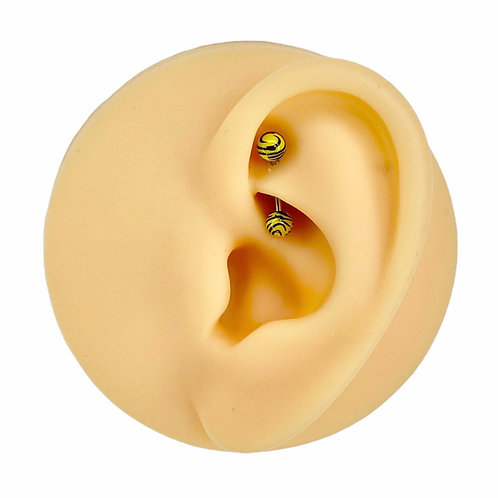 Yellow Tiger Print Curved Barbell