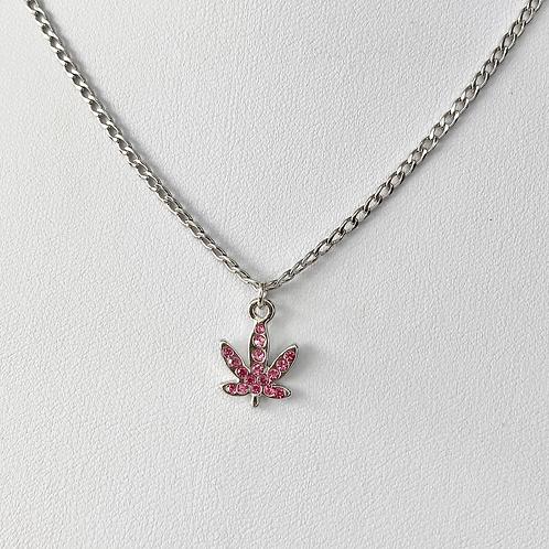 Pink Crystal Paved Weed Leaf Necklace