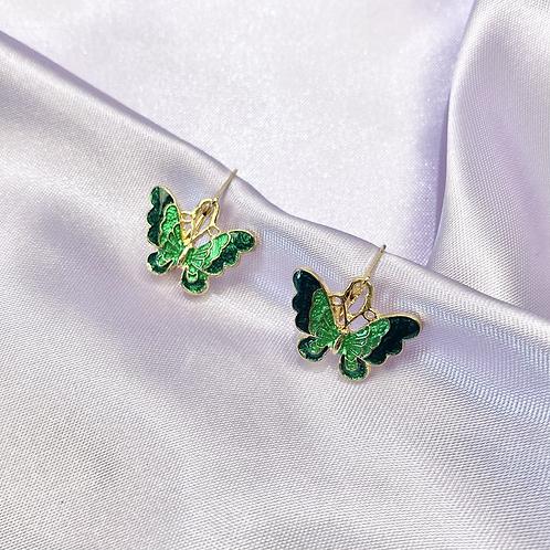 Green Butterfly Hoop Earrings