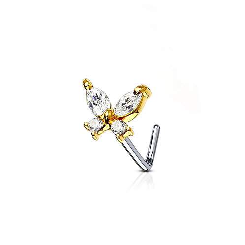 Gold Cubic Zirconia Butterfly Nose Stud