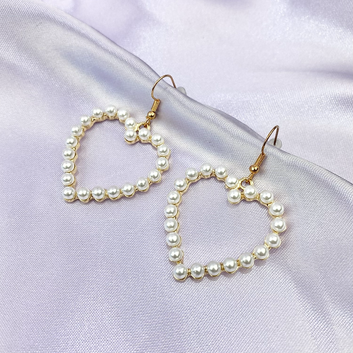 Gold Pearl Heart Earrings