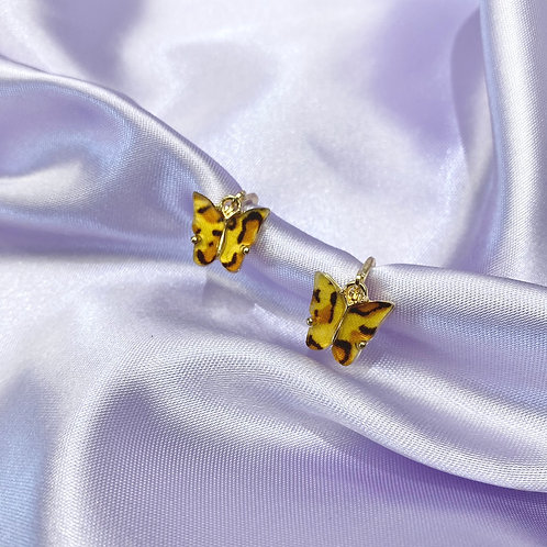 Leopard Butterfly Hoop Earrings