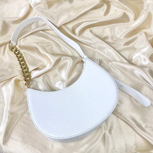 White Croc Saddle Shoulder Bag