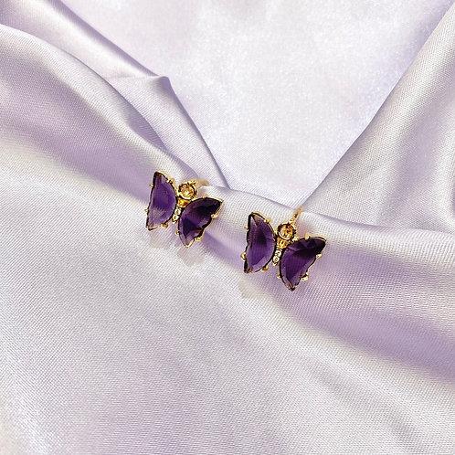 Purple Clear Rhinestone Butterfly Earrings