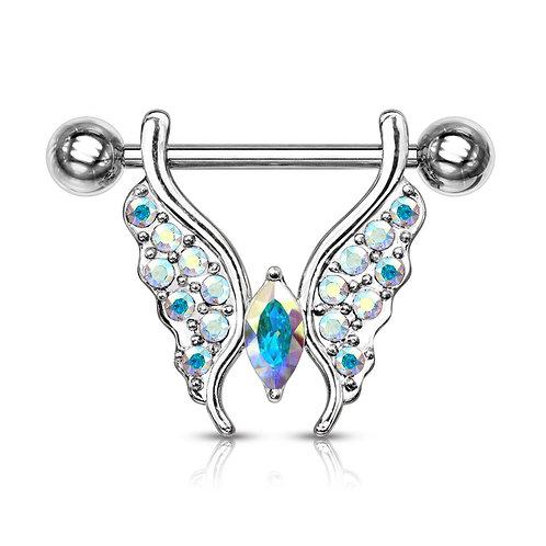 Aurora Borealis Crystal Paved Butterfly Nipple Bar