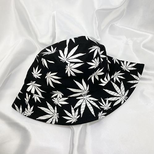 Black & White Weed Leaf Bucket Hat