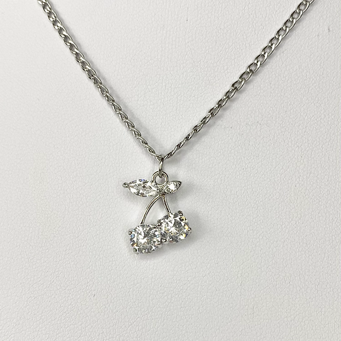 Silver CZ Bling Cherry Necklace