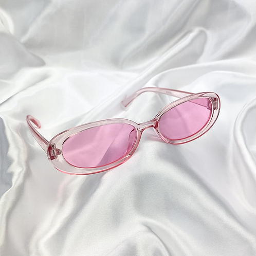 Pink Clear Oval Sunglasses
