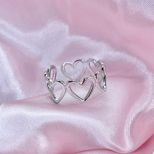Silver Groovy Heart Ring