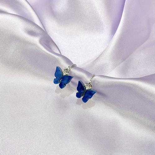 Blue Butterfly Hoop Earrings