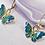 Thumbnail: Blue Butterfly Hoop Earrings