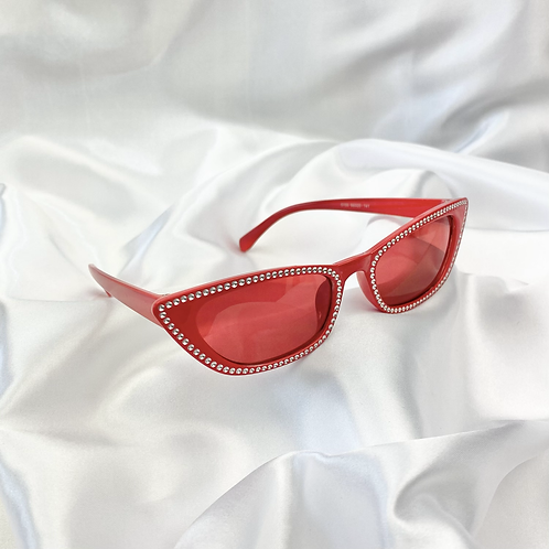 Red Embossed Rectangle Sunglasses