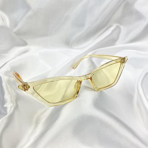 Yellow Clear Rectangle Cat Eye Sunglasses