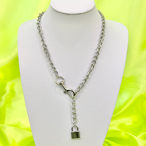 Silver Industrial Clasp Chain Padlcock Necklace