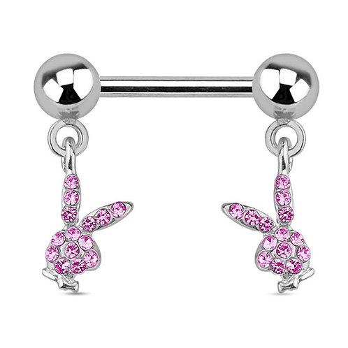 Pink CZ Paved Dangle Playboy Nipple Bar