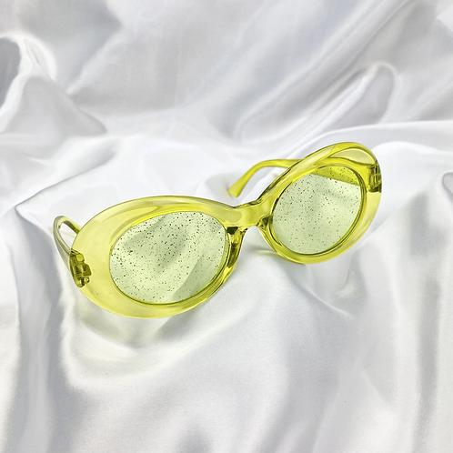 Green Clear Glitter Clout Goggle Sunglasses
