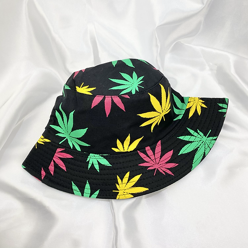 Black, Pink, Green & Yellow Weed Leaf Bucket Hat