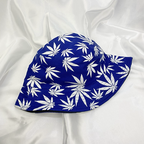 Blue & White Weed Leaf Bucket Hat