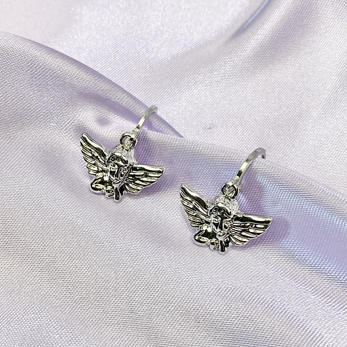 Silver Angel Hoop Earrings