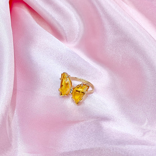Yellow Clear Rhinestone Butterfly Ring