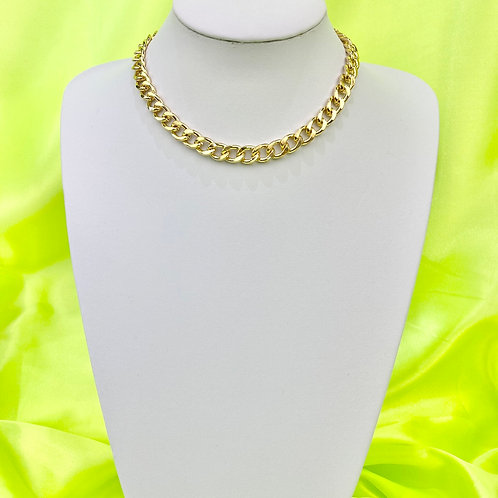 Gold Chunky Curb Chain Choker Necklace