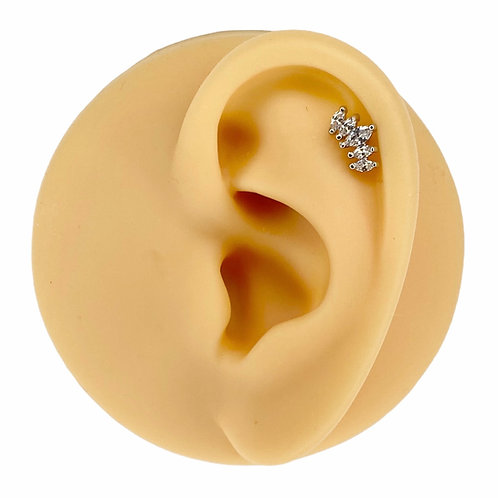 Silver Prong Set Marquise CZ Barbell Stud
