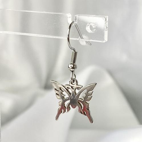 Silver Tribal Butterfly Earrings