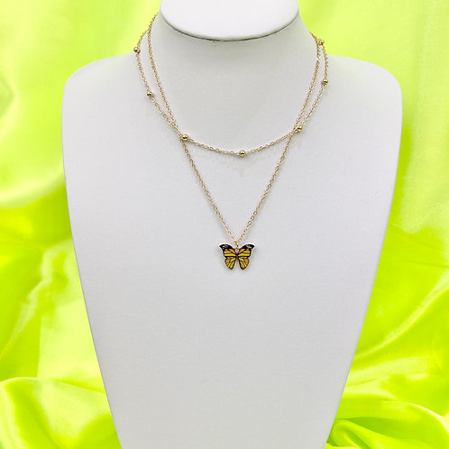 Yellow Butterfly Print Layered Necklace