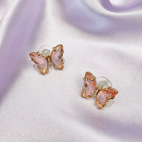 Pink Clear Butterfly Stud Earrings