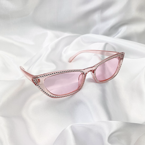 Pink Clear Embossed Rectangle Sunglasses