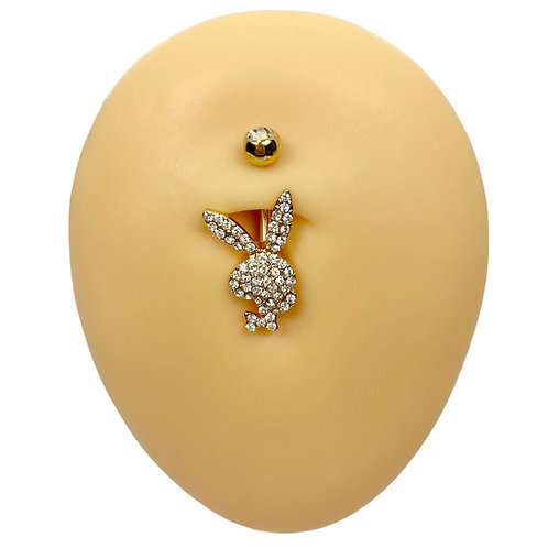 Gold Crystal Paved Playboy Belly Bar