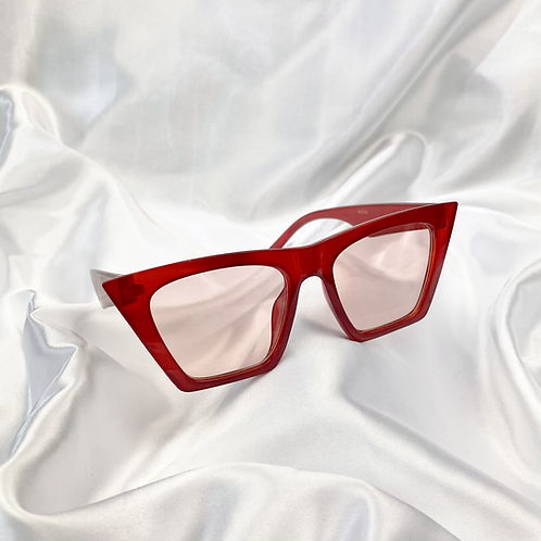 Red Clear Large Square Sunglasses