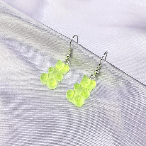 Green Gummy Bear Earrings