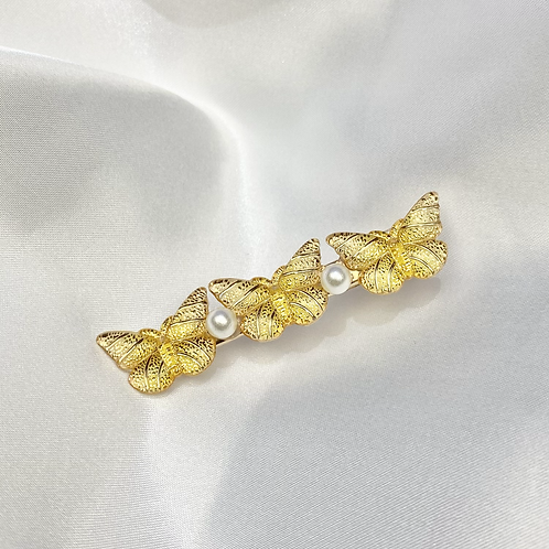 Yellow Butterfly Pearl Hair Clip