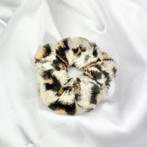 Cream Leopard Fur Scrunchie