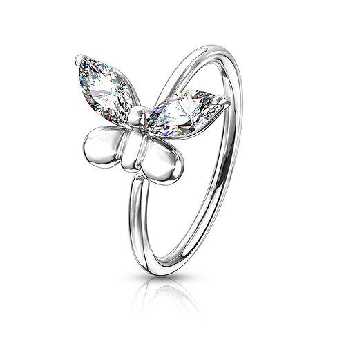 Silver Cubic Zirconia Butterfly Hoop